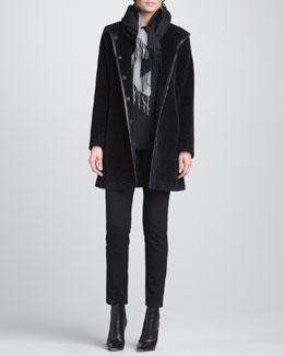 Eileen Fisher Fur Leather-Trim Coat, Slim Jersey Top, Slim Ponte Pants & Silk-Blend Scarf, Petite