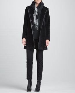 Eileen Fisher Fur-Blend Leather-Trim Coat, Slim Jersey Top, Slim Ponte Pants & Silk-Blend Scarf, Women's