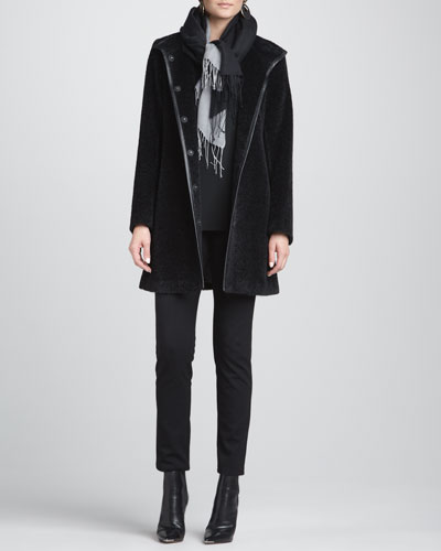 Eileen Fisher Fur-Blend Leather-Trim Coat, Slim Jersey Top, Slim Ponte Pants & Silk-Blend Scarf, Women's