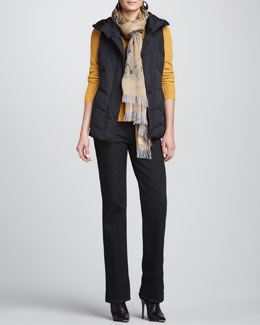 Eileen Fisher Water-Resistant Puffer Vest, Alpaca/Silk Sweater Top, Straight-Leg Jeans & Mottled Wool Scarf