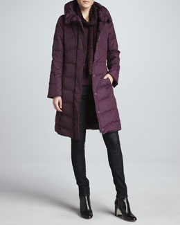 Eileen Fisher Puffer Weather-Resistant Coat, Long-Sleeve Top, Skinny Jeans & Puckered Silk Scarf