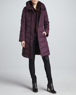 Eileen Fisher Puffy Weather-Resistant Coat, Skinny Jeans & Puckered Silk Scarf, Petite