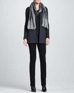 Eileen Fisher Felted Flannel Jacket, Jersey Top, Ponte Skinny Jeans & Linen-Wool Printed Scarf