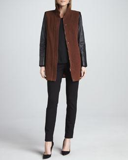 Eileen Fisher Leather-Sleeve Jacket, Jersey Top & Slim Ponte Pants