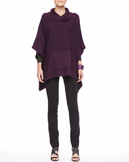 Eileen Fisher Funnel-Neck Poncho Top, Jersey Top & Ponte Skinny Jeans, Women's