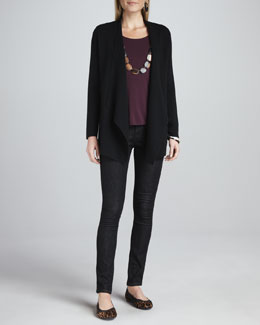 Eileen Fisher Angled Open-Front Jacket, Cap-Sleeve Tee & Organic Soft Skinny Jeans
