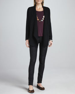 Eileen Fisher Angled Open-Front Jacket, Cap-Sleeve Tee & Organic Soft Skinny Jeans, Petite