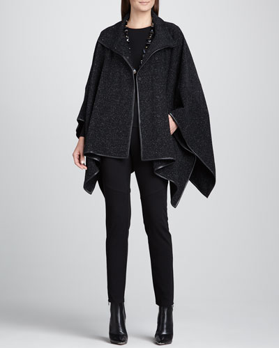 Eileen Fisher Plush Cotton Dash Cape, Long-Sleeve Tee & Ponte Skinny Ankle Pants