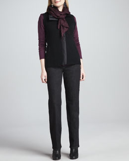 Eileen Fisher Puckered Silk Scarf, Merino Zip-Front Vest & Organic Soft Straight-Leg Jeans, Women's