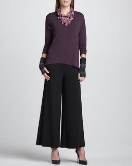 Eileen Fisher Long-Sleeve Jersey Oval Top, Wide-Leg Pants & Striped Glovettes