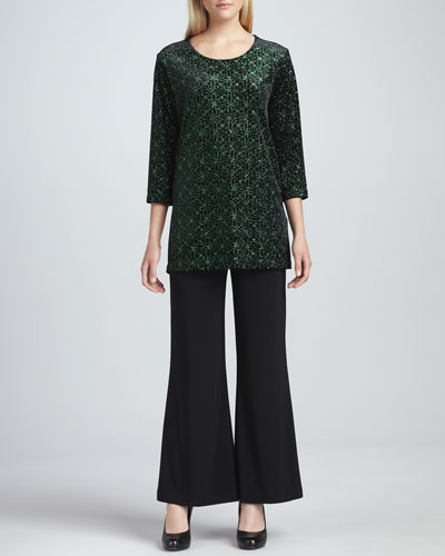 Caroline Rose Jeweled Velvet Tunic & Wide-Leg Stretch Pants