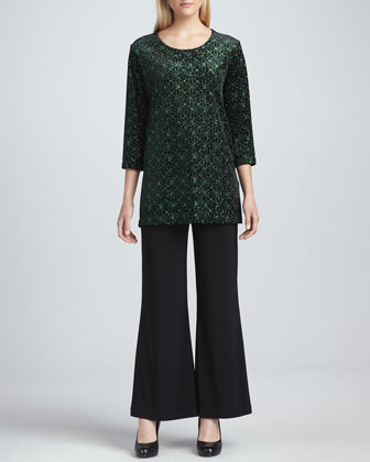 Jeweled Velvet Tunic & Wide-Leg Stretch Pants