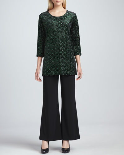 Caroline Rose Jeweled Velvet Tunic & Wide-Leg Stretch Pants, Petite