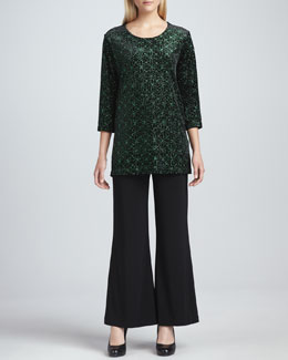 Caroline Rose Jeweled Velvet Tunic & Wide-Leg Stretch Pants, Women's