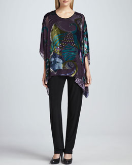 Caroline Rose Peacock Burnout Georgette Caftan & Stretch-Knit Slim Pants