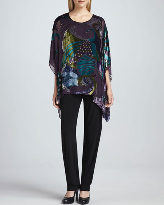 Peacock Burnout Georgette Caftan & Stretch-Knit Slim Pants