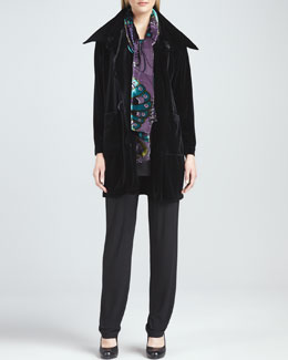 Caroline Rose Velvet Long Sweater Coat, Long Knit Tunic/Tank, Slim Pants & Peacock Burnout Scarf