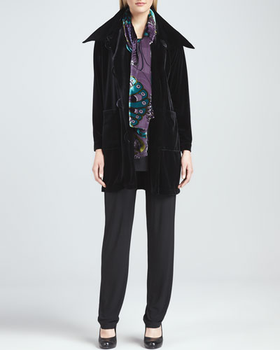 Caroline Rose Velvet Long Sweater Coat, Long Knit Tunic/Tank, Slim Pants & Peacock Burnout Scarf, Women's