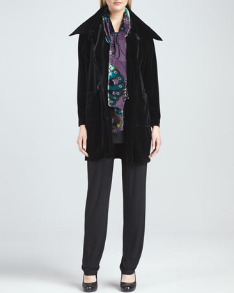 Velvet Long Sweater Coat, Long Knit Tunic/Tank, Slim Pants & Peacock ...