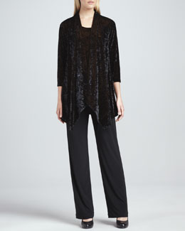 Caroline Rose Crushed Velvet Jacket, Tank & Stretch-Knit Slim Pants