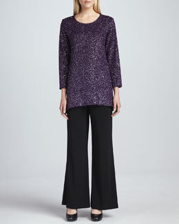 Caroline Rose Glitter High-Low Tunic & Wide-Leg Stretch Pants
