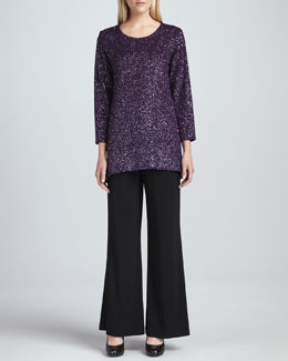Caroline Rose Glitter High-Low Tunic & Wide-Leg Stretch Pants, Petite