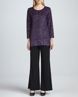 Caroline Rose Glitter High-Low Tunic & Wide-Leg Stretch Pants, Women's