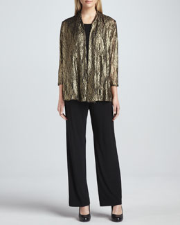 Caroline Rose Metallic Lace Easy Cardigan, Stretch-Knit Long Tank & Stretch-Knit Slim Pants