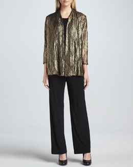 Caroline Rose Metallic Lace Easy Cardigan, Stretch-Knit Long Tank & Stretch-Knit Slim Pants, Petite