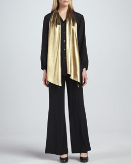 Caroline Rose Liquid Gold Tie-Neck Blouse & Wide-Leg Stretch Pants