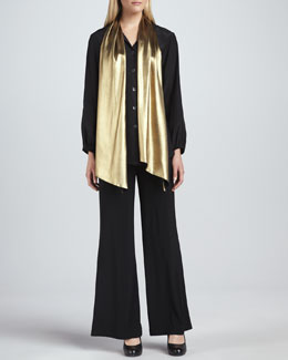 Caroline Rose Liquid Gold Tie-Neck Blouse & Wide-Leg Stretch Pants, Women's
