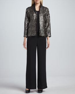 Caroline Rose Sequined Velvet Jacket, Basic Silk Crepe Tank & Wide-Leg Crepe Pants