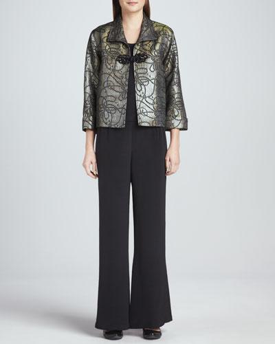 Caroline Rose Iridescent Jacquard Jacket, Silk Crepe Tank & Silk Crepe Wide-Leg Pants, Women's