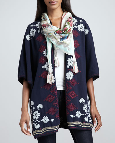 Johnny Was Collection Janice Blanket Embroidered Poncho & Fresh Garden Silk Scarf