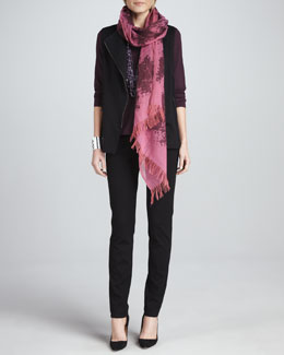 Eileen Fisher Boiled Wool Vest, Jewel-Neck Top, Slim Ponte Pants &  Wool Printed Scarf