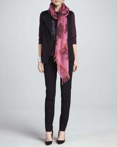 Boiled Wool Vest, Jewel-Neck Top, Slim Ponte Pants &  Wool Printed Scarf