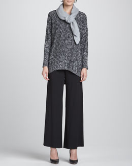 Eileen Fisher Organic Cotton High-Low Top, Slim Tank, Jersey Wide-Leg Pants & Cashmere Textured Scarf