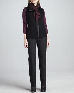 Eileen Fisher Merino Zip-Front Vest, Cashmere Striped Top, Straight-Leg Jeans & Puckered Silk Scarf