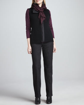 Merino Zip-Front Vest, Cashmere Striped Top, Straight-Leg Jeans & Puckered ...