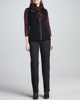 Eileen Fisher Parka-Trim Merino Zip-Front Vest, Cashmere Striped Top, Organic Straight-Leg Jeans & Puckered Silk Scarf
