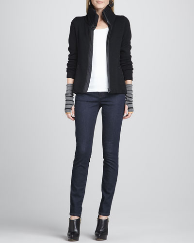 Eileen Fisher High-Collar Knit Parka-Panel Jacket, Organic Cotton Slim Tank,  Skinny Jeans & Ombre-Striped Glovettes