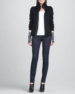 Eileen Fisher High-Collar Knit Parka-Trim Jacket, Organic Cotton Slim Tank,  Skinny Jeans & Ombre-Striped Glovettes, Women's