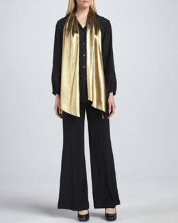 Caroline Rose Liquid Gold Tie-Neck Blouse & Wide-Leg Stretch Pants, Petite