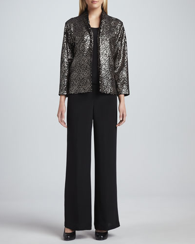 Caroline Rose Sequined Velvet Jacket, Basic Silk Crepe Tank & Wide-Leg Crepe Pants, Women's
