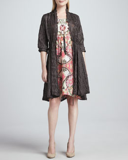 Johnny Was Collection Long Eyelet Drawstring Cardigan, Adalena Sleeveless Printed Silk Dress & Leather Tassel Necklace