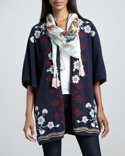 Johnny Was Collection Janice Blanket Embroidered Poncho & Fresh Garden Silk Scarf, Women's