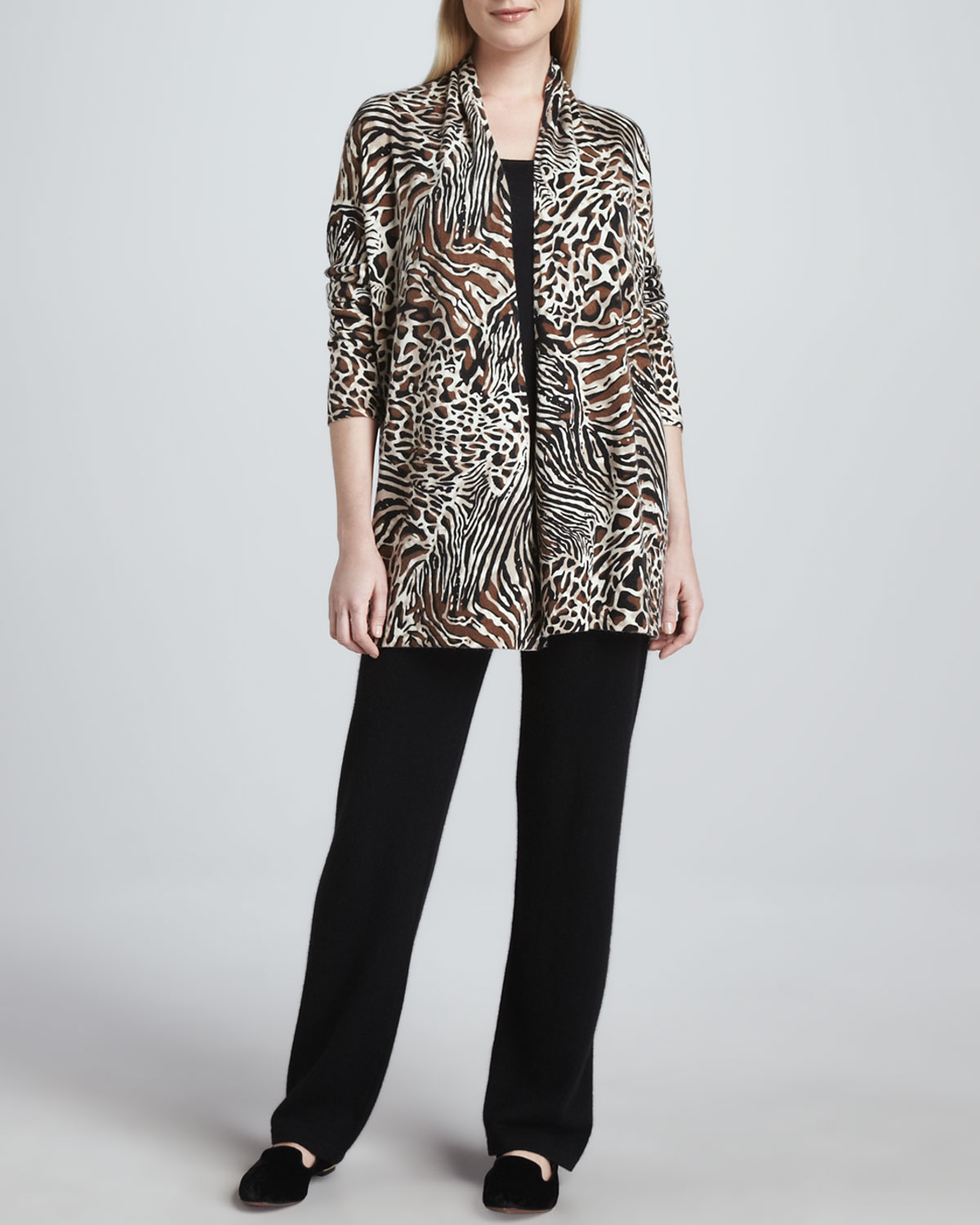 Animal-Print Cashmere Cardigan, Scoop-Neck Tank & Straight-Leg Pants