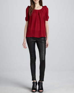 Joie Eleanor Tie-Back Blouse & Alvarine Stretch Leather Leggings