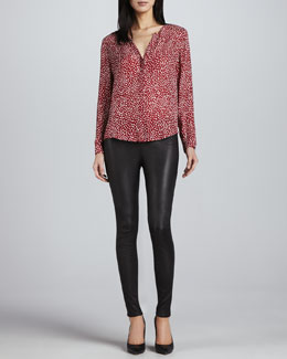 Joie Moema Heart-Print Silk Blouse & Alvarine Stretch Leather Leggings