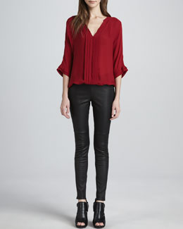 Joie Marru Pleat-Front Blouse & Alvarine Stretch Leather Leggings